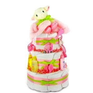 Lamb Diaper Cake for Girls
