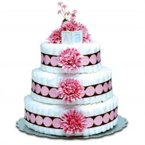 Modern Baby Diaper Cake Pink Brown
