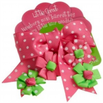 Pink and Green Bow Hair Ribbons